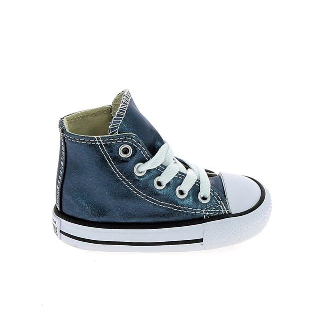 efd115e7aa6ea Converse - All Star Hi Bb Bleu Noir - pas cher Achat   Vente Baskets enfant  - RueDuCommerce