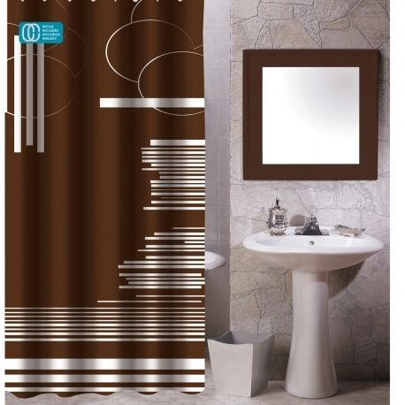 Msv rideau de douche polyester 80x200 brown graphic - Rideau de douche polyester ...
