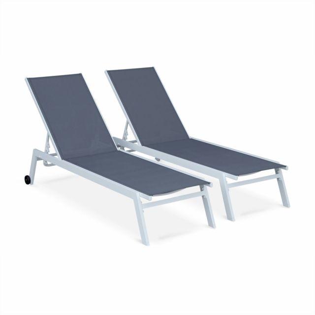 00e27391b236d8 ALICE S GARDEN Lot de 2 bains de soleil ELSA en aluminium blanc et  textilène gris,
