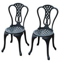 Salon De Jardin Mobilier De Jardin 2 Chaises + 1 Table En Fonte D'ALUMINIUM Style Classique Noir Neuf 31