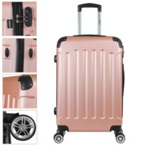Valise Trolley Valise Voyage Coque Rigide Case bagages à main Pin Rose Gold M