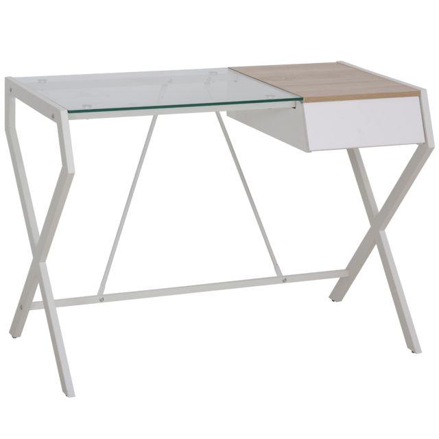 HOMCOM Bureau informatique table ordinateur design contemporain métal panneaux de particules blanc bois de chêne verre