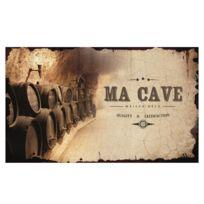 """Class DÉCO - Plaque de porte pour """"Ma Cave"""" en métal écru - à Fixer Rétro Vintage Fûts Vin Vignoble"""
