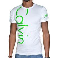 Calvin Klein - T Shirt Manches Courtes - Homme - Cmp13s Fluo - Blanc Vert Fluo