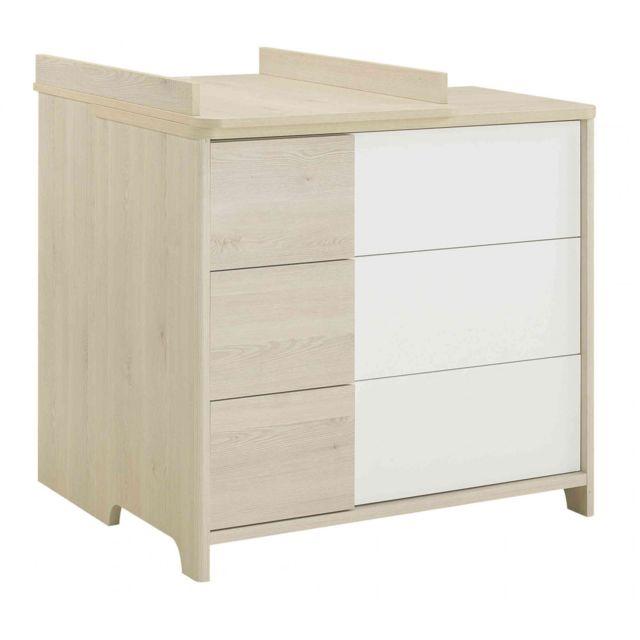GALIPETTE Commode 3 tiroirs plan à langer Sacha en bois chêne et blanc