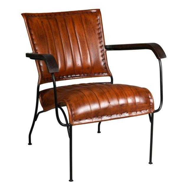 AUBRY GASPARD Fauteuil en cuir, métal et bois verni