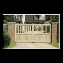 Sonnier Bois Panneaux Menuiserie - Portail Aluminium Ramatuelle - Coulissant  2 Vantaux assemblés Couleur - Blanc be34118bceba