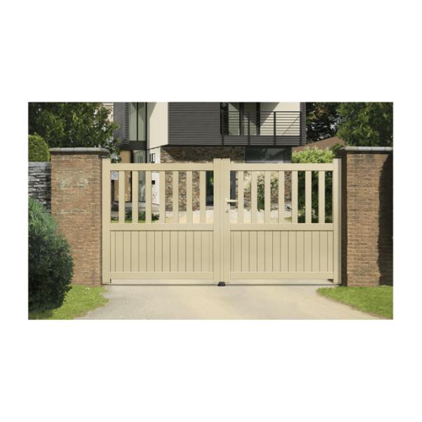 sonnier bois panneaux menuiserie portail aluminium ramatuelle coulissant 2 vantaux assembl s. Black Bedroom Furniture Sets. Home Design Ideas