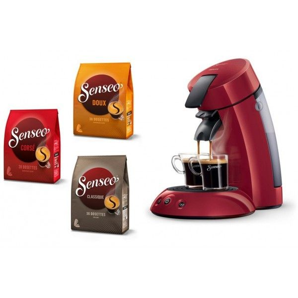 Philips Pack Senseo Originale 1-2 Tasses Hd7817/94 Rouge + Dosettes Offertes