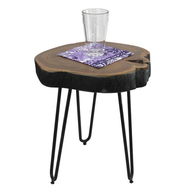 COMFORIUM Table d'appoint ronde 30 x 30 cm avec un plateau en bois massif acacia et 3 pieds en métal