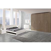 Mennza - Chambre adulte complète Ginger chêne gris et blanc C30153GB