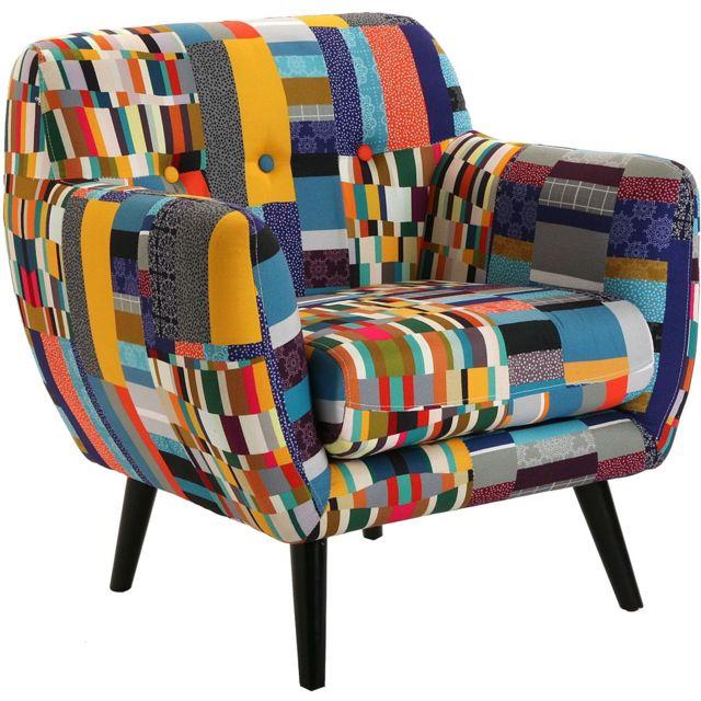 VERSA Fauteuil lounge tissu coloré Etna