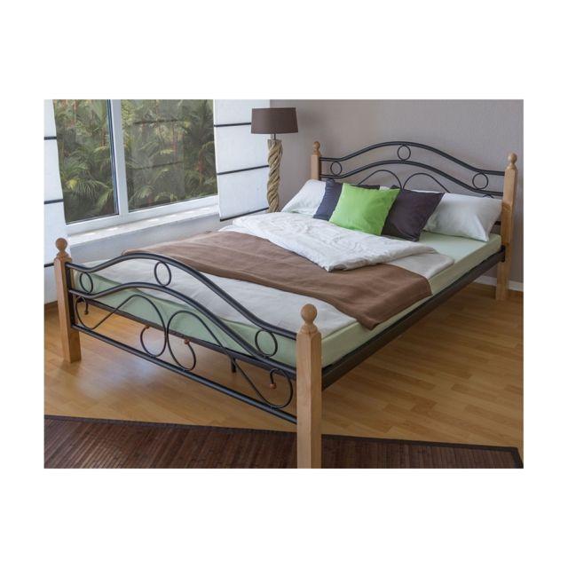 Homestyle4u Design Metal Lit Double 140 X 200 Cadre De Lit Lattes