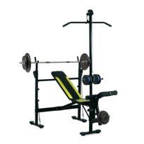 HOMCOM - Banc de musculation Fitness entrainement complet dossier réglable cordes traction curler supports barre et haltères noir et jaune neuf 34