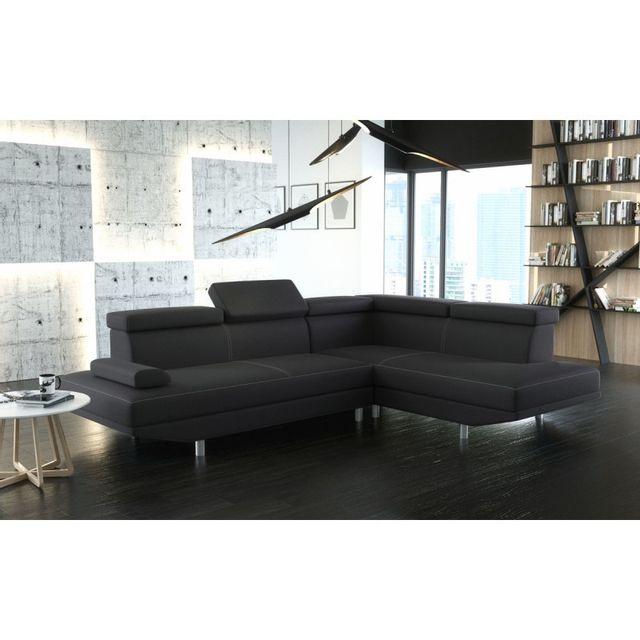 meublesline canap d 39 angle stario en simili cuir noir. Black Bedroom Furniture Sets. Home Design Ideas
