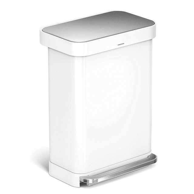Simplehuman Poubelle rectangular Step can 55L Blanc
