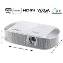 ACER - K137 - Mini Vidéoprojecteur DLP - WXGA - 700 ANSI lumens - Contraste 10000:1 - HDMI - USB - MicroSD - Blanc