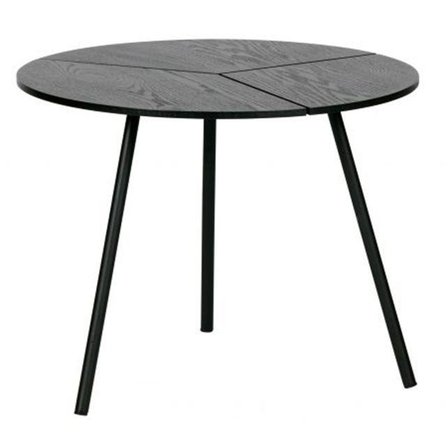 Pegane Table d'appoint en bois et métal coloris noir - H.38 x L.48 x P.48 cm