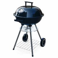 ALICE'S GARDEN - Barbecue charbon de bois Ø43cm - Fernand noir émaillé - Barbecue avec aérateurs, émaillé, récupérateur de cendres, fumoir, Normes CE et Françaises