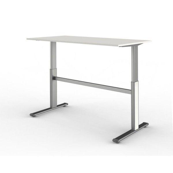 kerkmann bureau lectrique hauteur r glable l 180cm x p 80 cm plateau blanc pas cher. Black Bedroom Furniture Sets. Home Design Ideas