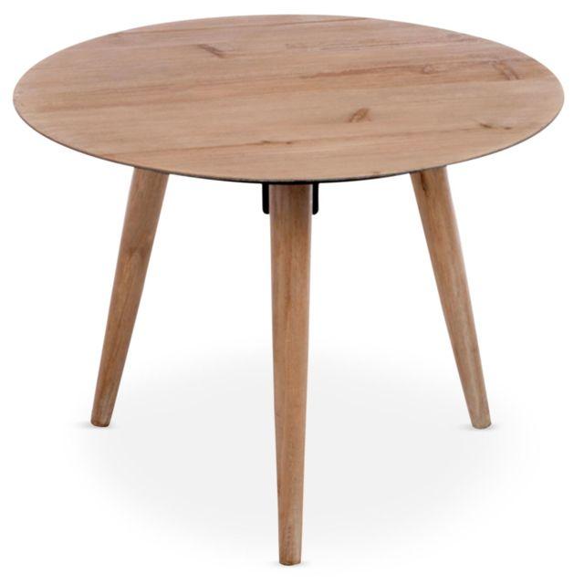 MENZZO - Table basse scandinave ronde Jalea Chêne Marron - 60cm x 60cm x 44cm