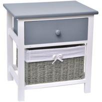 tendance meuble chevet 1 tiroir en bois 1 panier coloris gris et blanc