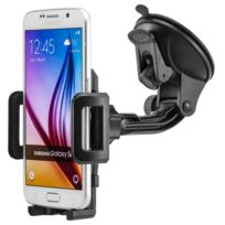 Tbs - 3165 Support téléphone pour voiture Pare-brise à ventouse, rotation à 360 - Compatible avec tous les appareils avec un grand écran en largeur de 50-98mm:iPhone / Samsung / Htc / Sony / Nokia / Huawei / Google / Lg / Xiaomi noir et bleu