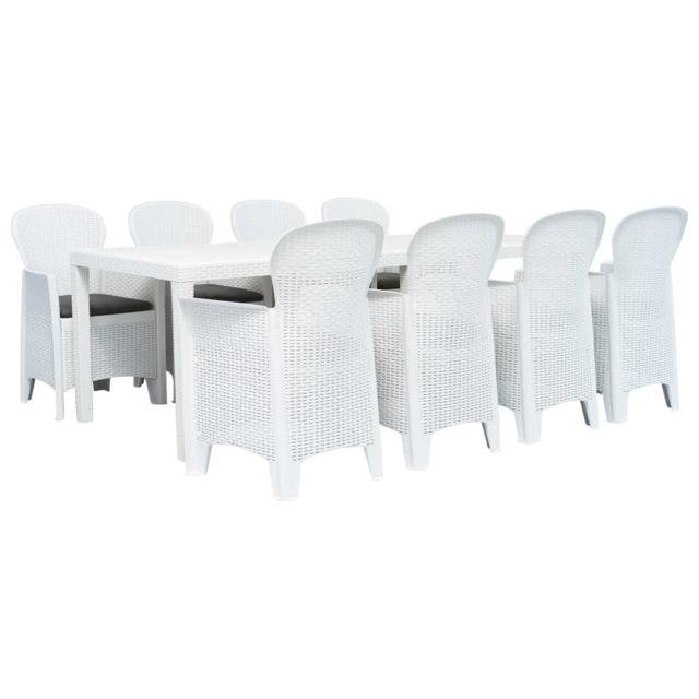 Vidaxl Meuble à dîner d'extérieur 9pcs Plastique Blanc Aspect de rotin