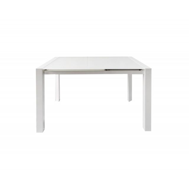 Meubletmoi Table extensible 120/180 cm plateau verre blanc - Luciole