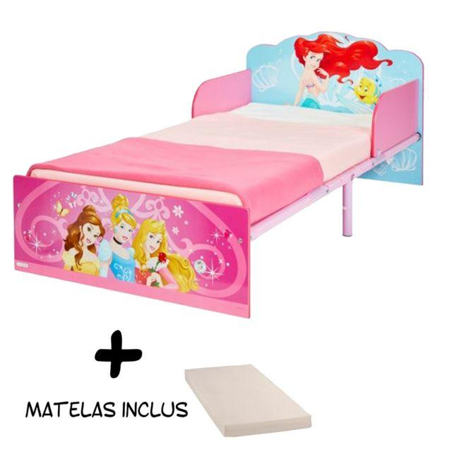 Bebe Gavroche Lit enfant bois et métal Princesses Disney + Matelas