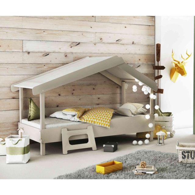 TERRE DE NUIT Lit enfant cabane en bois gris 90x200