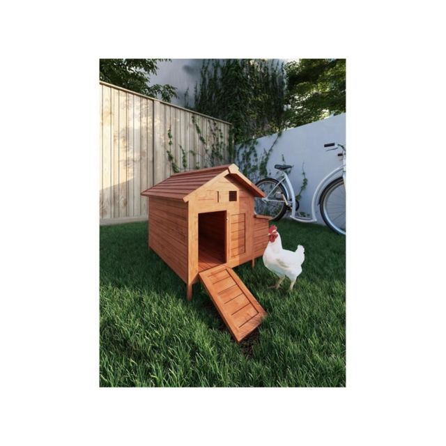 Poils And Plumes Poils & Plumes Poulailler Didier en bois 2 poules - 89x70x93 cm