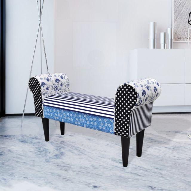 Vida Tabouret de style pastoral de couleurs bleu et blanc