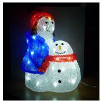 Jja - Petite fille et bonhomme de neige lumineux 40 Led blanc froid