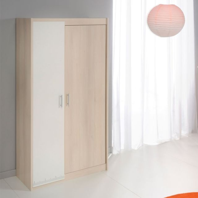 Tousmesmeubles Armoire 2 portes Acacia clair/Blanc - Price - L 86 x l 52 x H 180