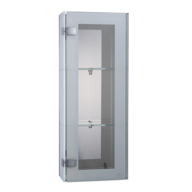 HOMCOM Meuble design 1 porte de salle de bain 3 étagères verre trempé 28l x 14l x 70H cm neuf 69