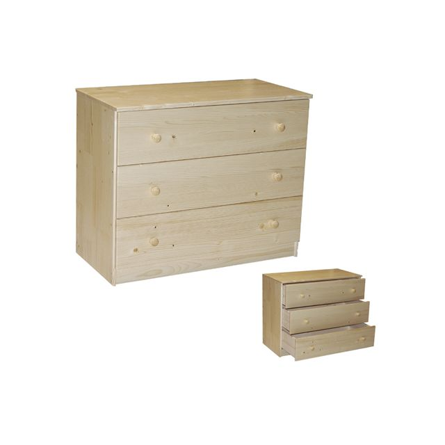 No Name Commode Porto 3 tiroirs / Vernis naturel