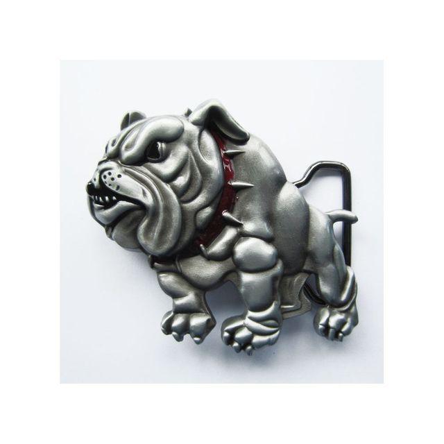Universel Boucle de ceinture bulldog chien collier rouge homme femme