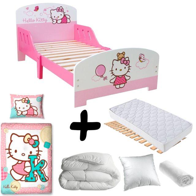 Bebe Gavroche Pack complet Premium Lit Nuage Hello Kitty = Lit+Matelas & Parure+Couette+Oreiller