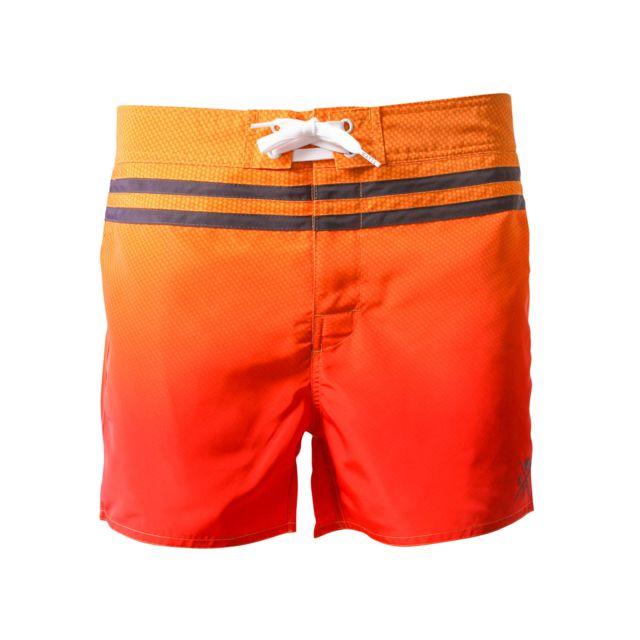 Watts Short de bain Homme Cooll Allover Carbon Orange et Rouge