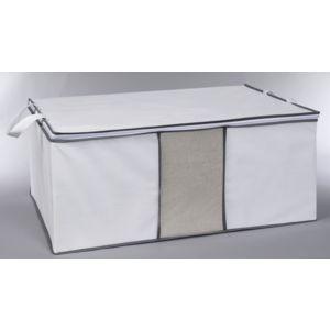 carrefour housse pour couette en tissu blanc et gris ho35437 pas cher achat vente. Black Bedroom Furniture Sets. Home Design Ideas