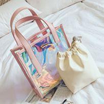 c396ad0153 E-thinker - Femme Sac à Main en Mode Transparent pour Eté Multicolore