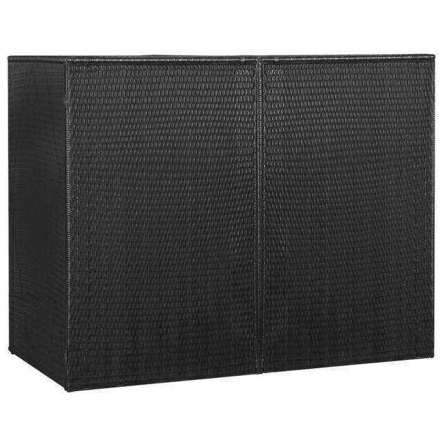 Vidaxl Abri pour poubelle double Noir 153x78x120 cm Résine tressée