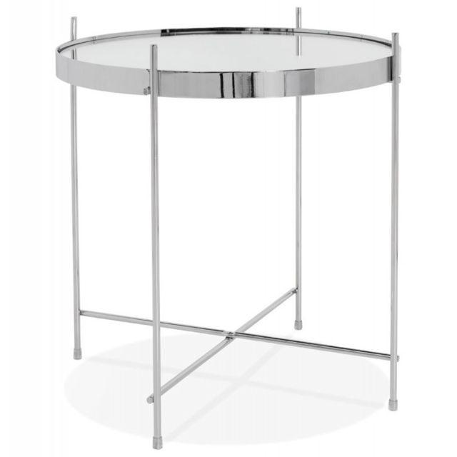 Table D Appoint Argent.Table D Appoint Ronde Pliable Minois 45cm Argent