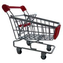 Totalcadeau - Chariot caddie range fournitures de supermarché miniature pour bureau rose