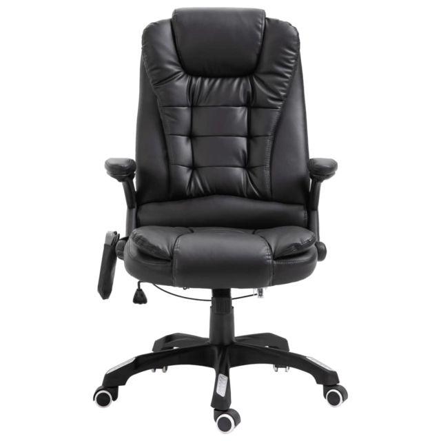 Chaise de Bureau de Massage Noir Similicuir Fauteuil d'Ordinateur Salon