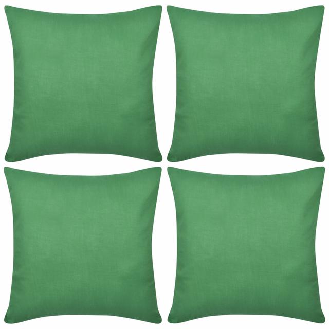 Rocambolesk Superbe 4 Taies d'oreiller Vert en coton 80 x 80 cm neuf