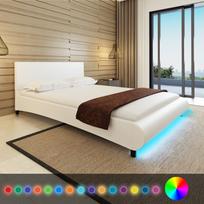 Rocambolesk - Superbe Lit en cuir artificiel blanc avec bande Led 140 x 200 cm neuf