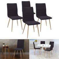 Idmarket - Chaises X4 Polga capitonnées tissu noir pour salle à manger