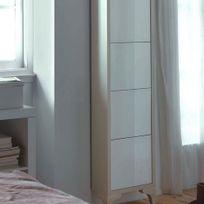Cubisl - Meuble A Chaussures - Laqué Vison brillant, Portes laquées blanc - 45x29x162 - L unité